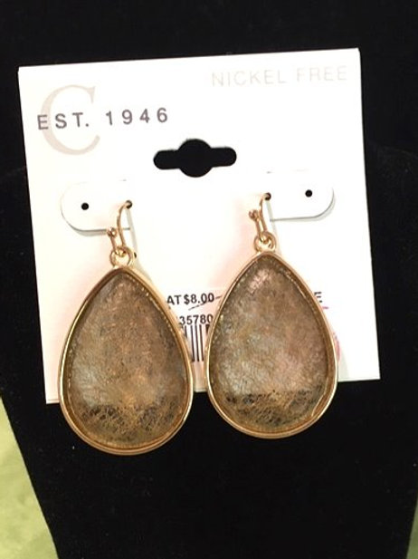 Ladies Gold Taupe Drop Pierced Earrings