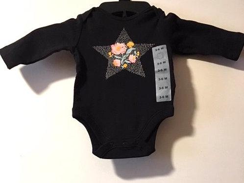 Baby Girls Black With Flowers Long Sleeve Onesie