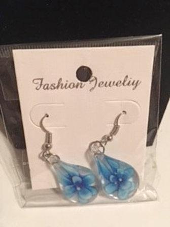 Ladies Blue Flower Dangling Pierced Earrings