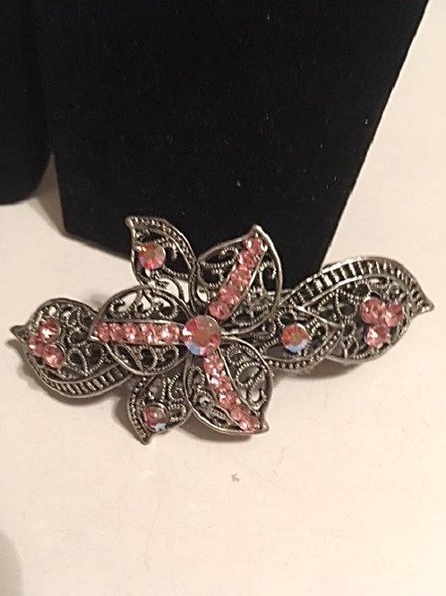 Ladies Large Silver Pink Rhinestones Hair Clasp