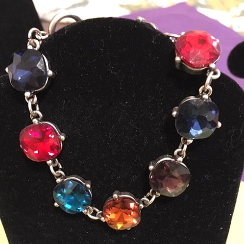 Ladies Silver Multi Colored Rhinestone Bracelet