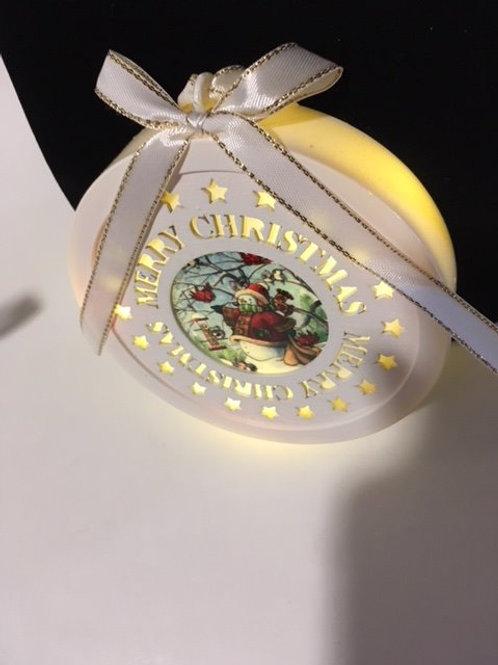 Lighted Merry Christmas Snowman & Birds Christmas Ornament
