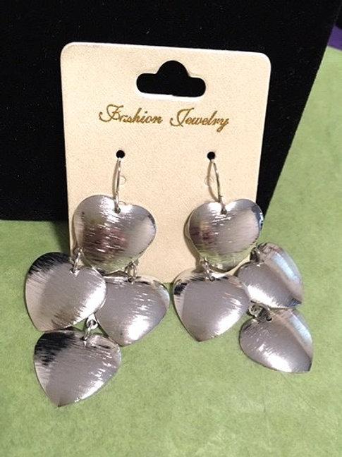 Ladies Silver Heart Cluster Dangling Pierced Earrings