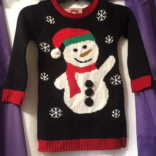 Girls Black Snowman Christmas Sweater