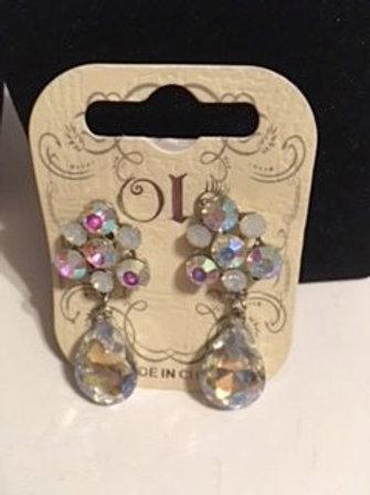 Ladies Iredescent Rhinestone Pierced Dangling Earrings