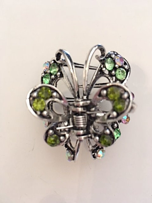 Ladies Green Rhinestone Hair Clip