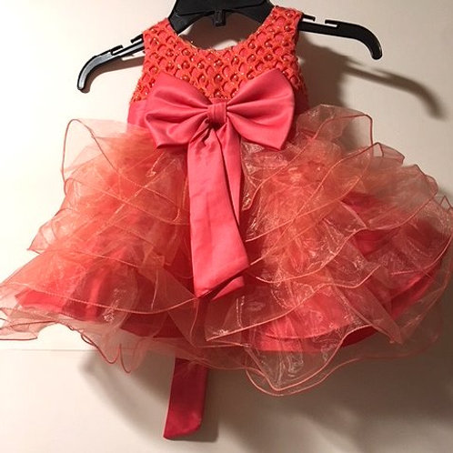 Baby Girls Size 6 - 9 Month Apricot Orange Pageant Dress