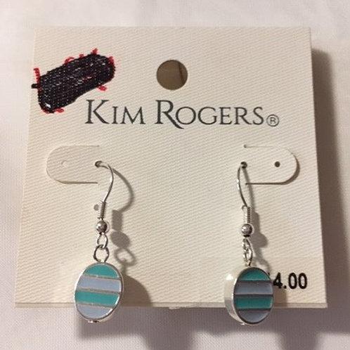 Ladies Turguoise Blue Silver Accent Dangling Pierced Earrings
