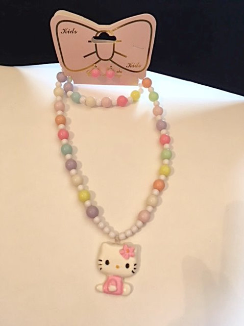 Girls Pastel Bead & Kitty Jewelry Set