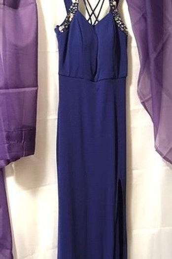 Juniors Size 7 Jodi Kristopher Blue Maxi Prom Special Occasion Dress