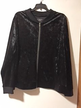 Womens Size 2X Black Velour Zipper Jacket