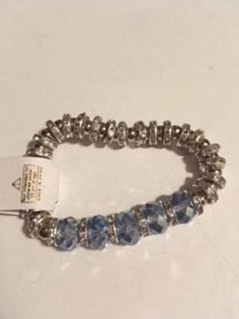 Ladies Stretch Silver & Blue Bracelet