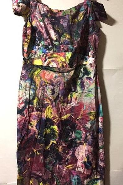 Ladies Size 12 Abstract Shoulder Strap Off Shoulder Dress