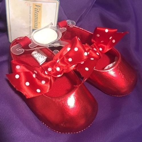 Baby Girl 3 - 6 Month Size 2 Red Cradle Mary Jane Shoes