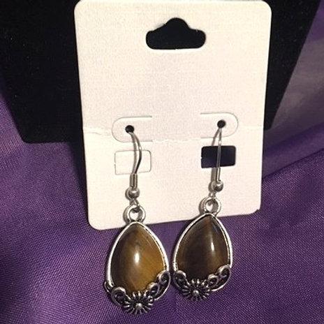 Ladies Silver Brown Ornate Dangling Pierced Earrings