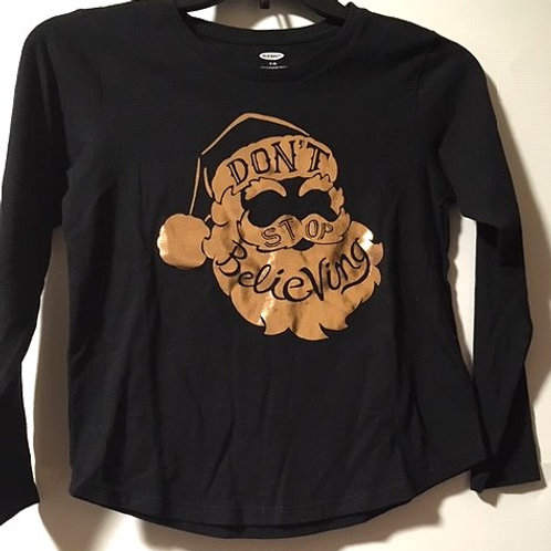 Girls Size M 8 Old Navy Black Christmas Long Sleeve Top