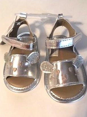 Baby Girl Size 3 Silver Mouse Face Laura Ashley Sandals