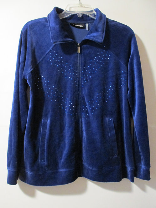 Ladies Size Petite Medium Velour Blue Jacket