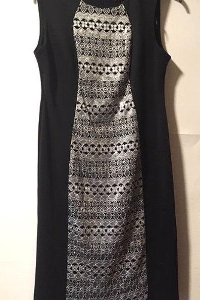 Ladies Petite 4 R&M Richards Black Silver Sequin Special Occasion Dress