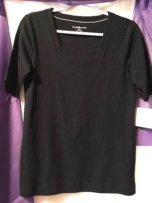 Ladies Size Petite Medium Black Short Sleeve Top