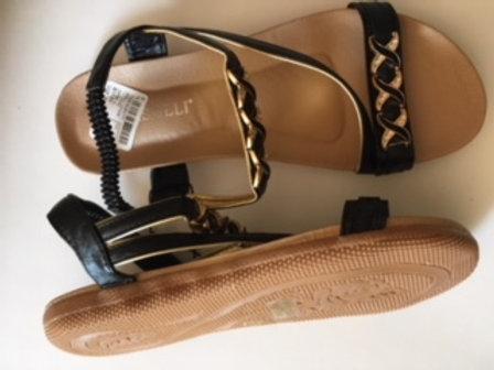 Ladies Size 11 Black Gold Sandals