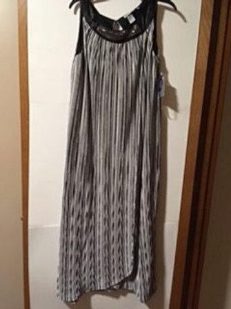 Womens Petite 0X Black White Maxi Long Dress