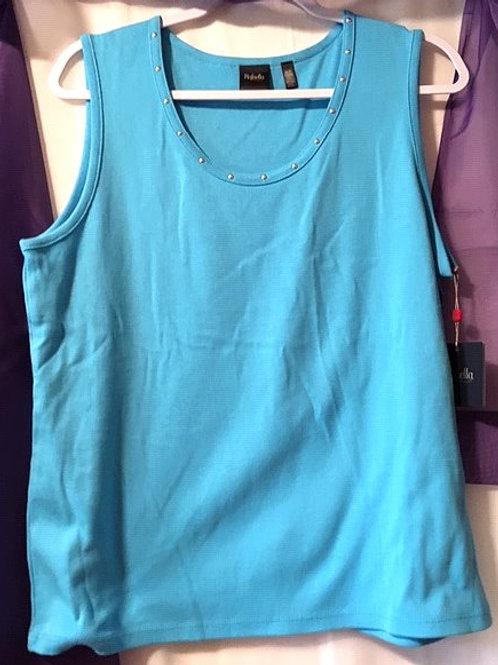 Ladies Size Petite X Lg Turquoise Sleeveless Top