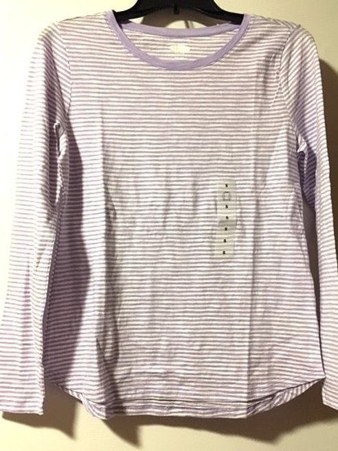 Juniors Size Small Purple Stripe Long Sleeve Top