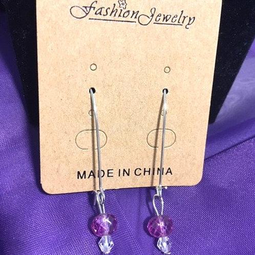 Ladies Silver Wire Dangling Pink Pierced Earrings