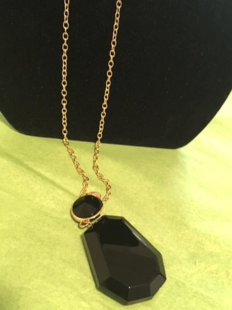 Ladies Gold Black Long Necklace & Pierced Earrings