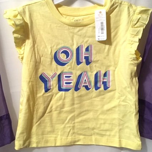 Girls Yellow Ruffled Capped Sleeve Graphics Top