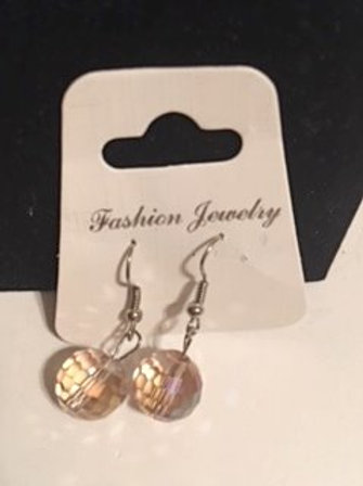 Ladies Silver Iredescent Orb Pierced Earrings