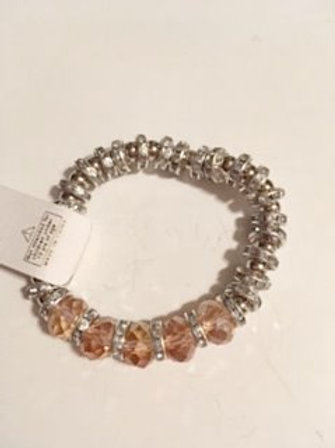 Ladies Stretch Silver & Pink Bracelet