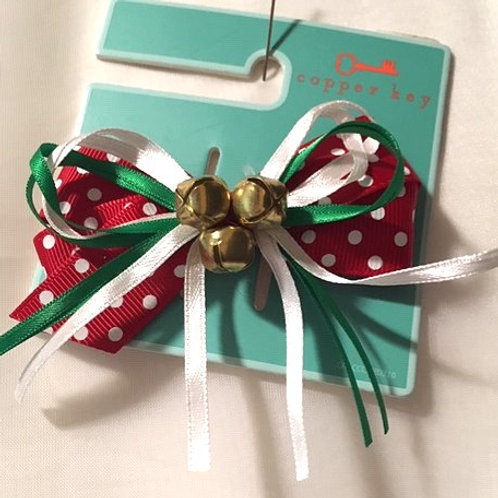 Girls Christmas Hair Bows With Jingle Bells
