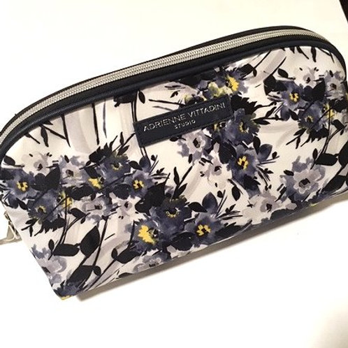 Ladies Purple Floral Dual Compartment Cosmetic Bag