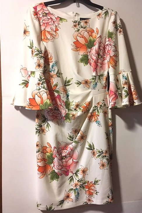 Ladies Size 10 P Cream & Floral Bell Sleeve Dress