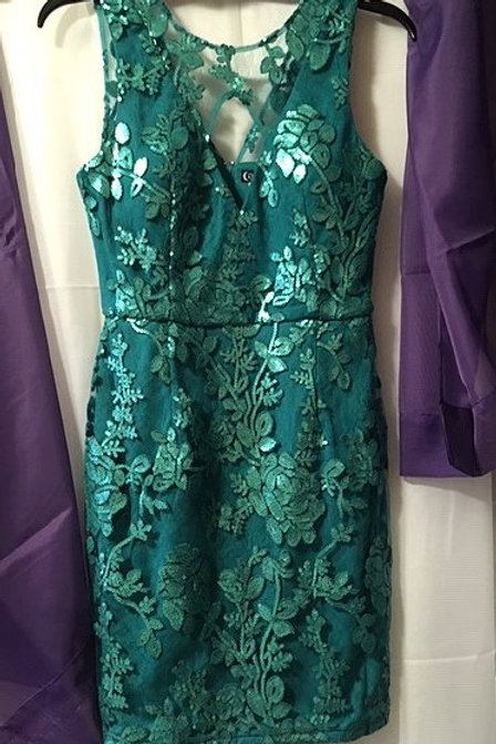 Juniors Teal Short Prom Special Occasion Dress