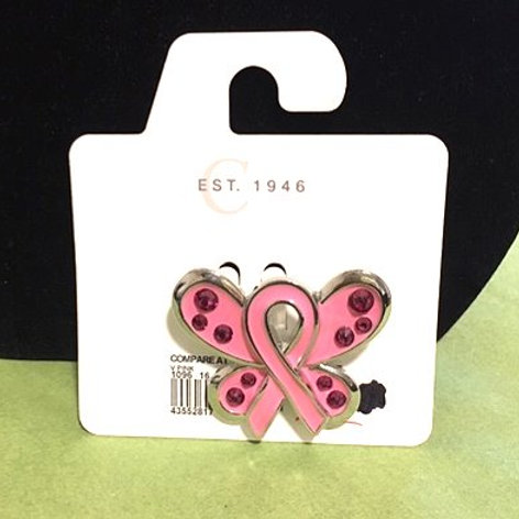 Ladies Pink Breast Cancer Ribbon Butterfly Pin