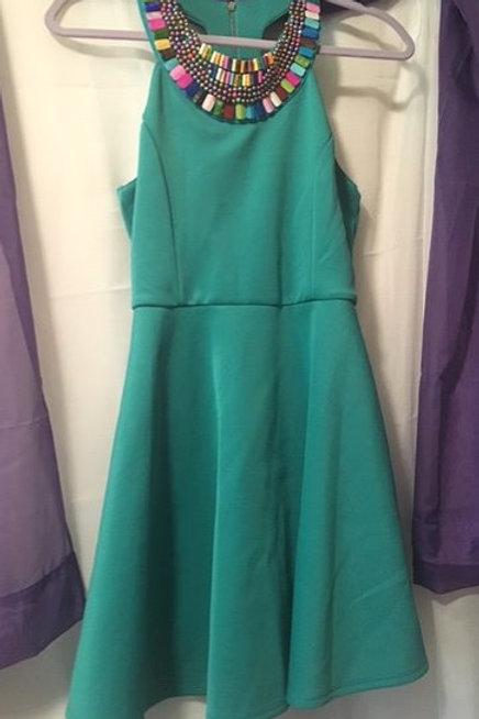 Girls Size 16 Green Turquoise Ornate Dress