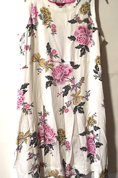 Ladies Size 12 Cream With Floral Design Sleeveless Dress