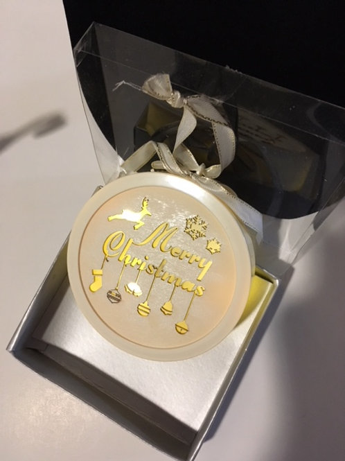 Lighted Merry Christmas Cream Christmas Ornament