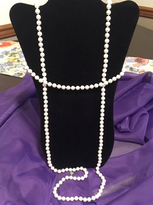 Ladies Long White Faux Pearl String Necklace