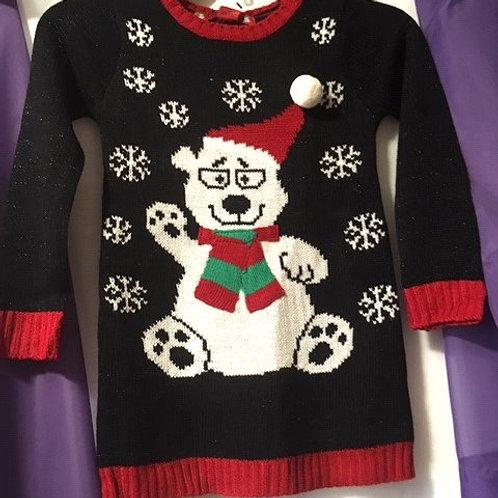 Girls Size Medium 5 - 6 Black Christmas Sweater