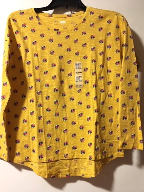 Girls Size XL 14 Gold Floral Long Sleeve Top