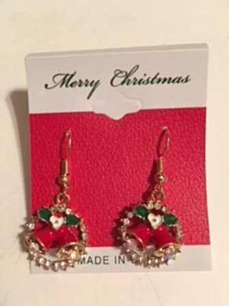 Ladies Red & Gold Christmas Bells Dangling Pierced Earrings