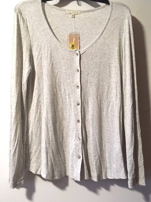 Juniors Copper Key Size Large Heather Grey Button Up Top