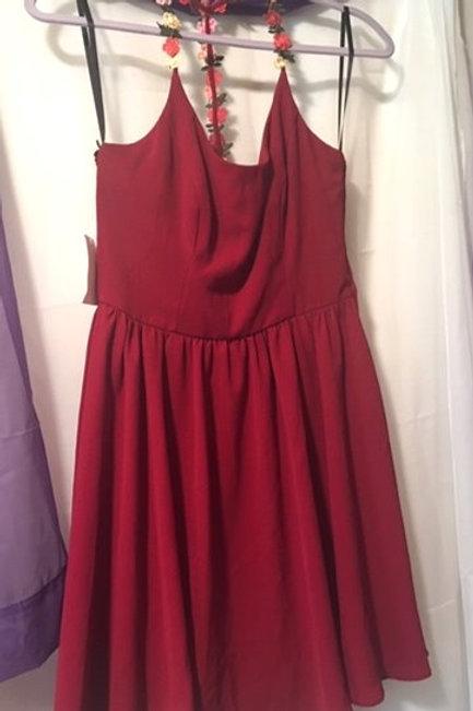 Juniors Size 9 - 10 Burgandy Spaghetti Strap Dress