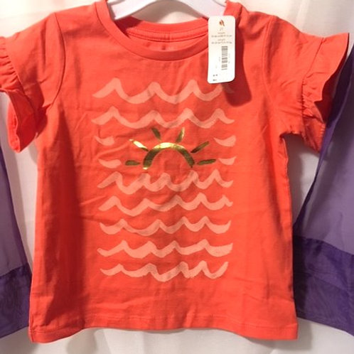 Toddler Girls Orange Ruffled Short Sleeve Top