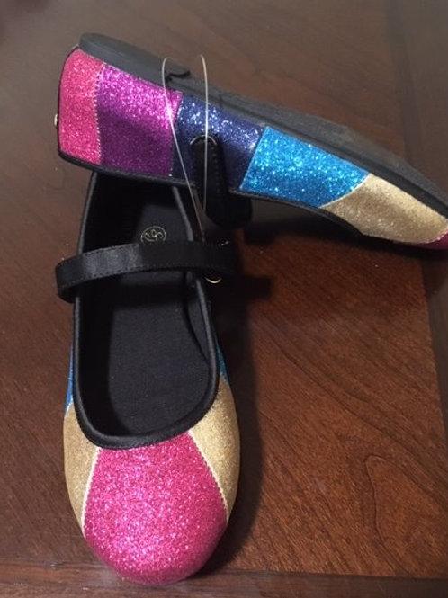 Girls Size 1 Multi Color Glitter Strap Sydney Jordyn Shoes