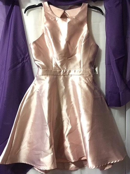 Ladies Pink Short Backless Prom Special Occasion Dress